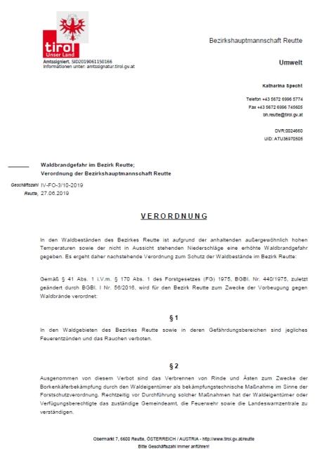 Waldbrandverordnung 1